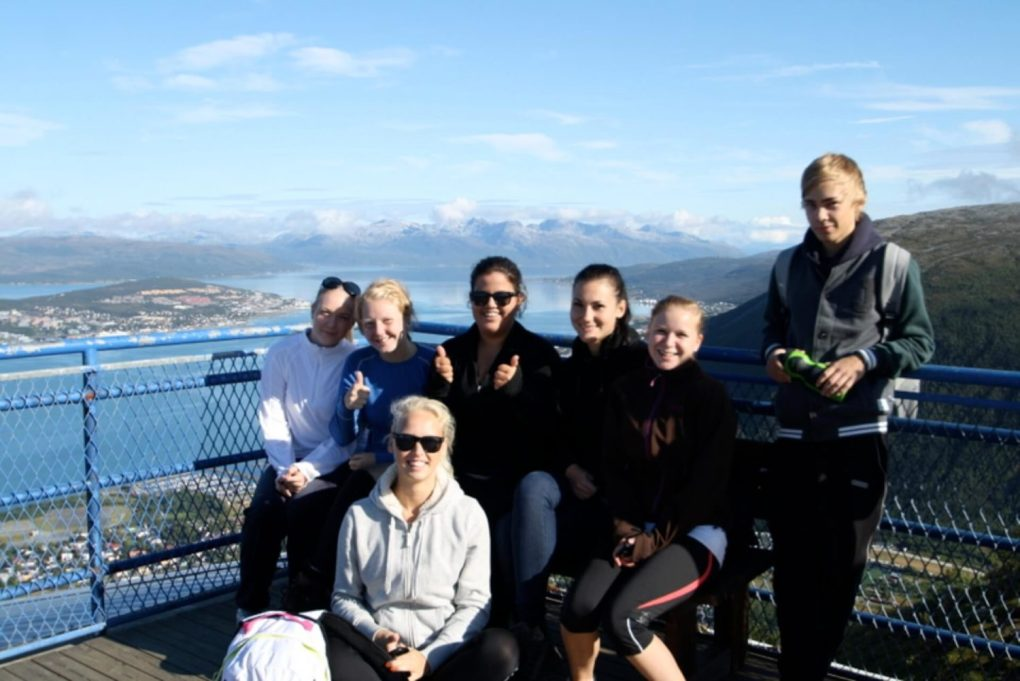 norway Exchange student with her Norwegian friends on a scenery vieweing place