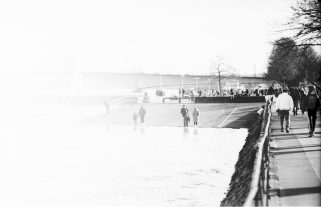 Sonniger 4. Februar bei Hochwasser am Rheinufer