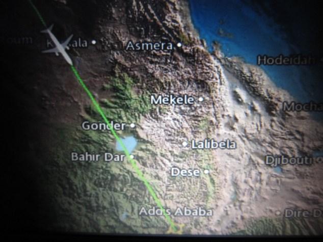 Informationen während des Flugs nach Addis