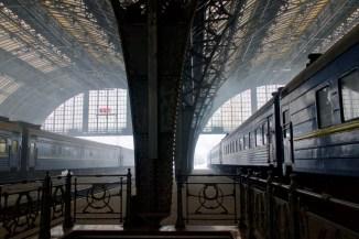 Lviv, Ukraine - am Bahnhof im Winter
