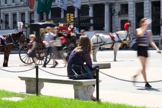Verschnaufpäuschen mit Pferden und vorbeieilenden Passanten