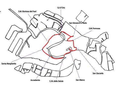 Karte des Rundgangs durch Venedig