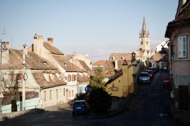 Zwischen Ober- und Unterstadt mit Blick auf die evangelische Stadtpfarrkirche