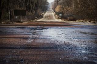 Gerade leere Straßen führen nach Tschernobyl
