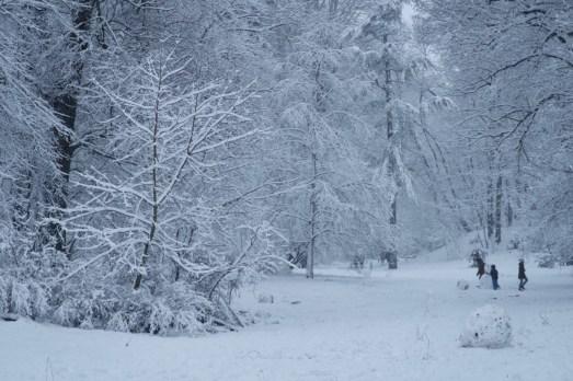 Winterspaß mit Schneemännern im Wald Anfang Dezember