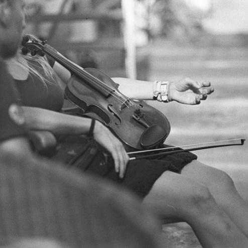 Eine Geige bei den Offenen Ateliers 2020 in der Kunstbrennerei - mit Grüntee entwickelt.