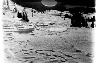 Schneespaziergang oben auf dem Pass