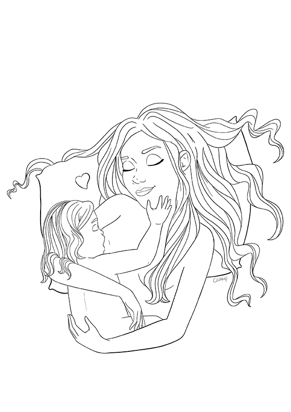Coloriage sur l'allaitement et le maternage issu du carnet de coloriages Coeur à Coeur, coloriages autour de la parentalité par Cévany