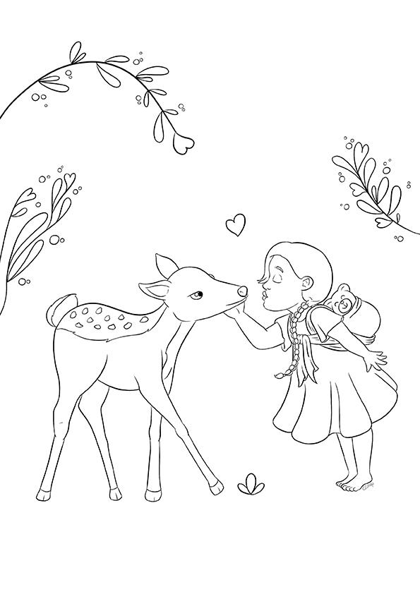 Coloriage d'une fille et une biche, sur le portage, issu du carnet de coloriages Coeur à Coeur, coloriages autour de la parentalité par Cévany