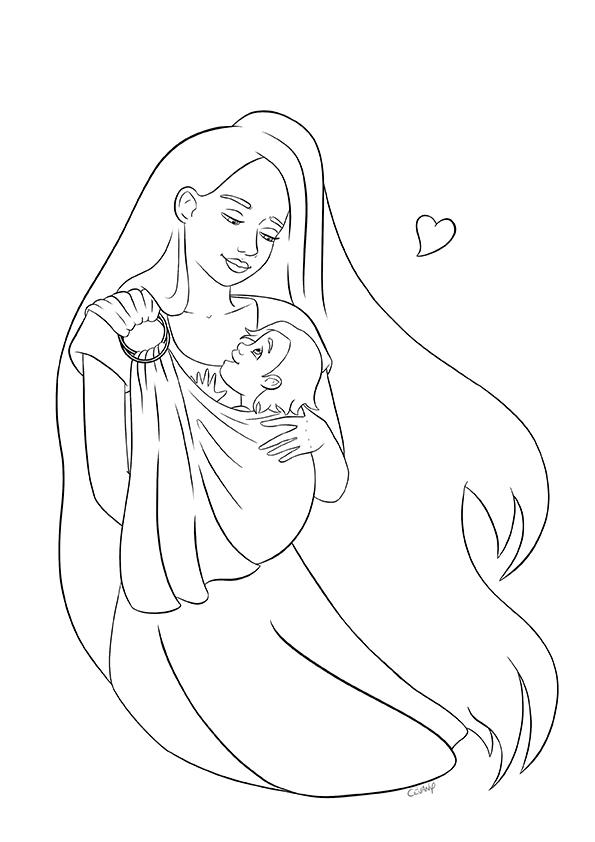Coloriage sur le portage physiologique et le maternage issu du carnet de coloriages Coeur à Coeur, coloriages autour de la parentalité par Cévany
