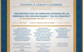 """Cinthya Lobato invita al evento """"Encuentros por los Derechos Humanos de las Personas con Discapacidades y TEA en Veracruz"""""""