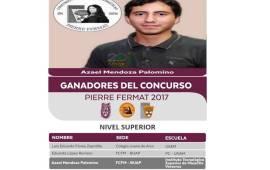 """Azael Mendoza del ITSM Misantla Finalista del concurso Nacional de Matemáticas """"Pierre Fermat"""" del IPN"""