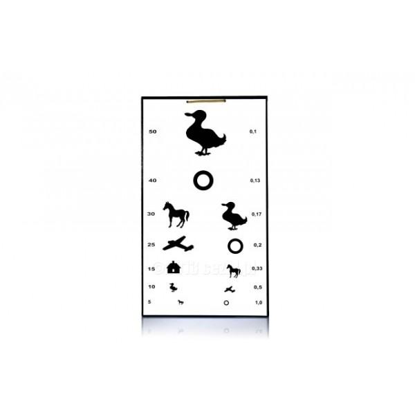 Tablica okulistyczna dla dzieci ze zwierzętami