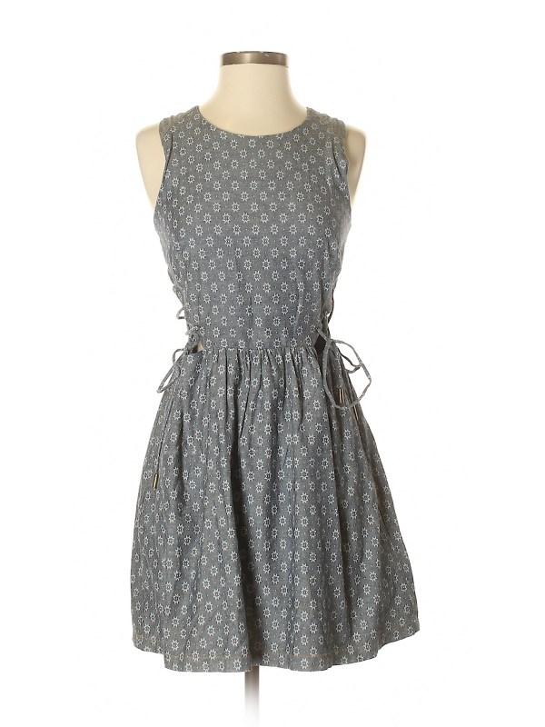 Charlotte Ronson 100 Cotton Floral Dark Blue Casual Dress