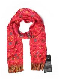 Pineda Covalin 100% Silk Print Red Silk Scarf One Size ...