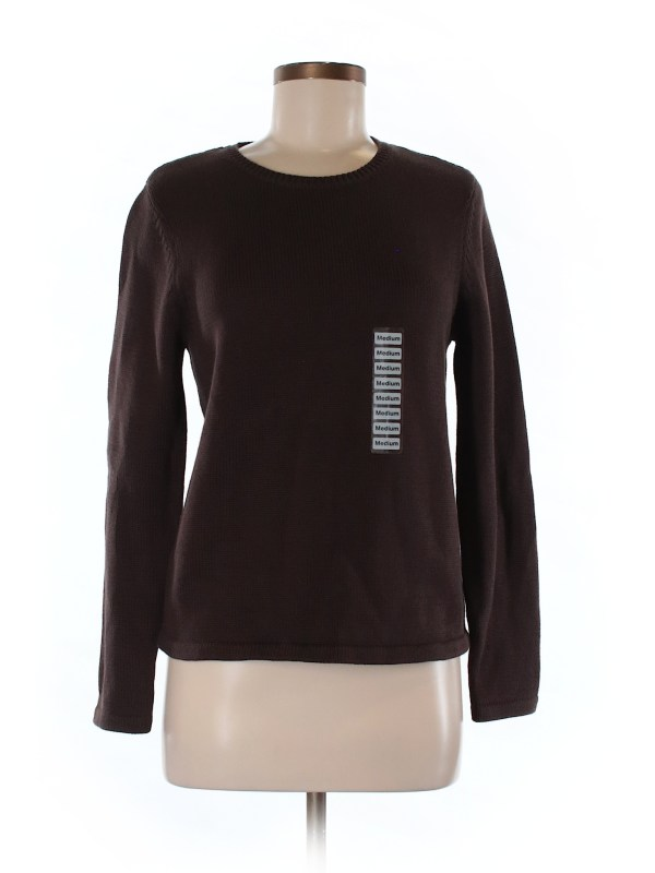 Charter Club 100 Pima Cotton Solid Brown Pullover Sweater