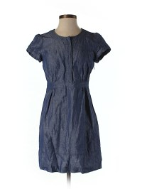 Boden Chambray Dark Blue Casual Dress Size 4 (Petite) - 75 ...