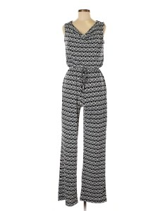 Pin it en focus studio women jumpsuit size also polyester print navy blue rh thredup