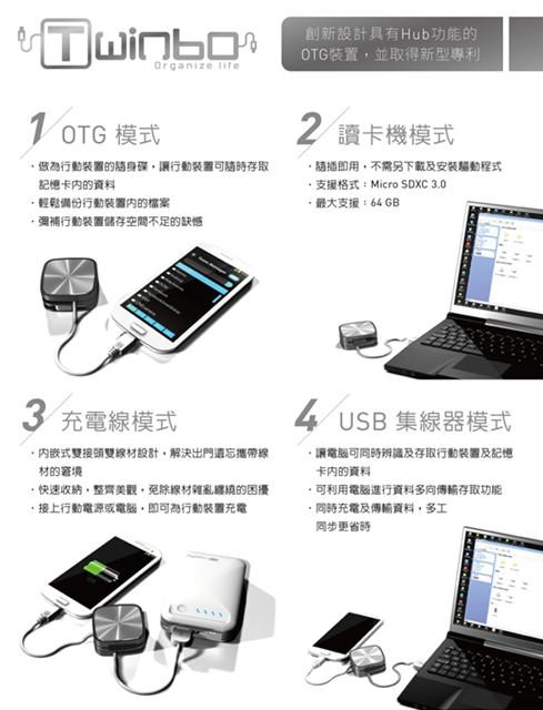 臺灣精品獎十銓科技「Twinbo」多工應用,同步傳輸OTG裝置- SOGI手機王
