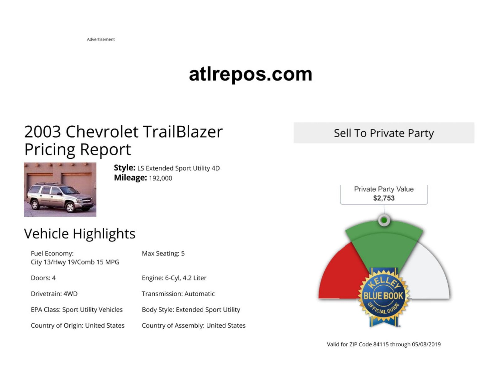 2003 chevrolet trailblazer ext ls in salt lake city ut  [ 1600 x 1237 Pixel ]
