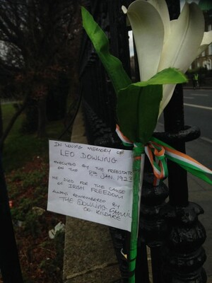 A tribute left on a Dublin street to Leo Dowling, executed by the Irish Free State forces on the 8th of January 1923