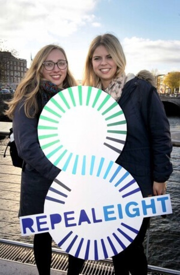 NO REPRO FEE 25/11/2016 Coalition to Repeal the Eighth Amendment hosted a Women Rising 2016 Rally today in Dublin. Pictured at the lunchtime rally 'Women Rising in Solidarity 2016' on Rosie Hackett Bridge are German students studying at Trinity College, Tara Knegt, left, and Theresa Henn. The two women found it amazing that is an issue in a country preceived to be as adavance socially as Ireland. The rally was organised to demand that the Irish Government take action to respect and protect women's lives, health and choices. Supporters were encouraged to wear black and tweet their support using #Black4Repeal. The rally is one of two Irish events that took place today (25.11.2016) as part of an international day of support for women in countries where abortion is banned or difficult to access. Some of the countries participating around the world include Brazil, Peru, Ecuador, Poland, Chile, Argentina, Mexico and Italy.  PHOTO: Mark Stedman