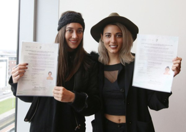 21/04/2017. Irish Citizenship Ceremony. Pictured (LtoR) Shela and Zimena Cafferos Rios originally  from Mexico living in Dublin joined thousands of people taking part in the Citizenship ceremonies in Dublins Convention Center today. Three Citizenship Ceremonies will be held in the Convention Centre in Dublin with over 3000 candidates originating from over 120 countries expected to attend. Photo: Sam Boal/Rollingnews.ie