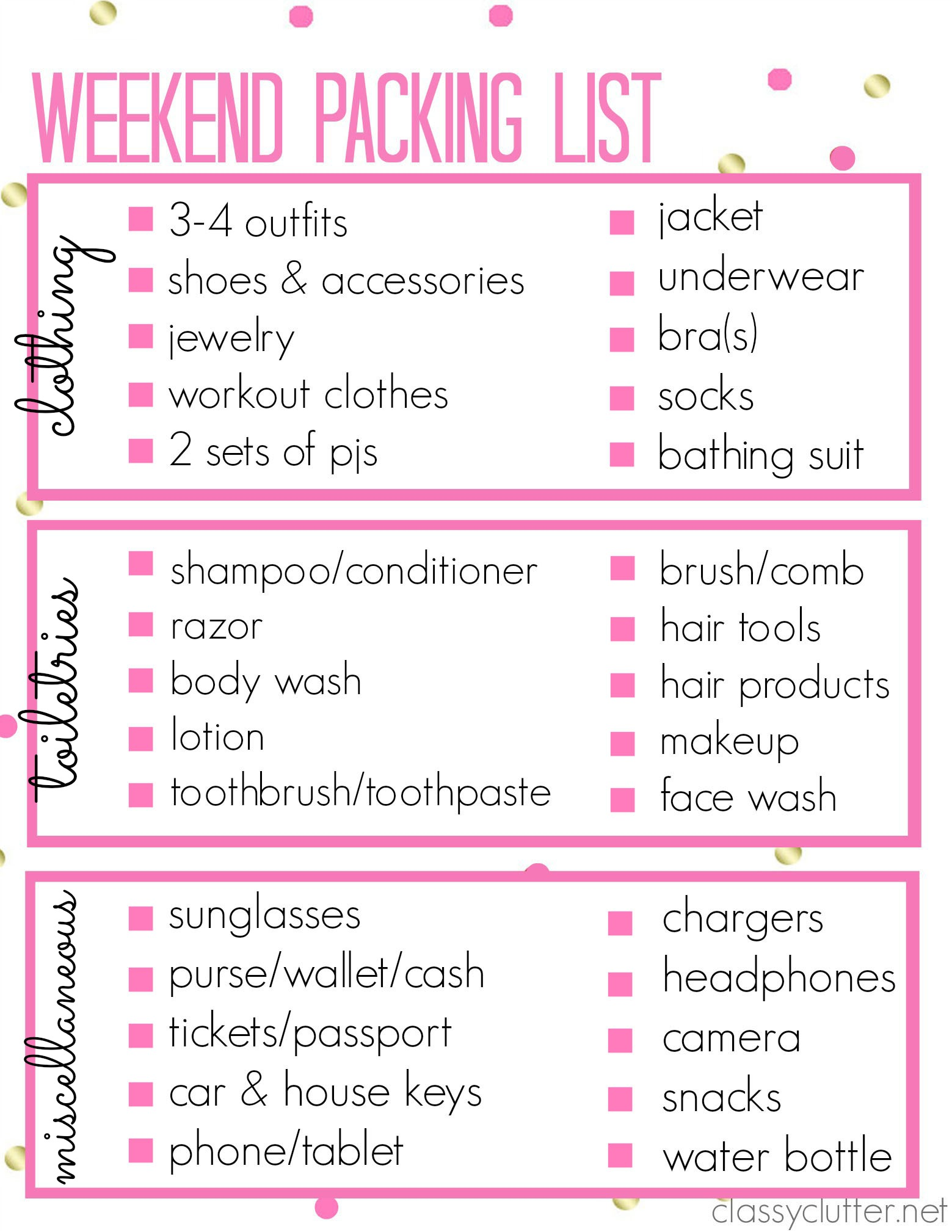 Printable Packing List For A Weekend Trip