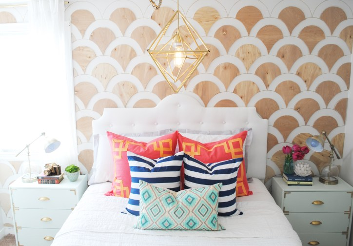 Accent Wall Scalloped Wood Cutouts Gold Sharpie Chandelier Focal Point Throw Pillows White Dresser