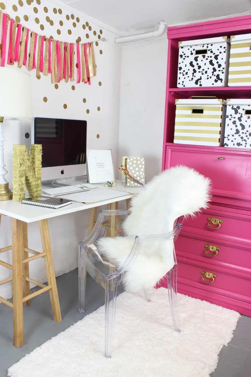Genial Pink And Gold Office Decor Ideas