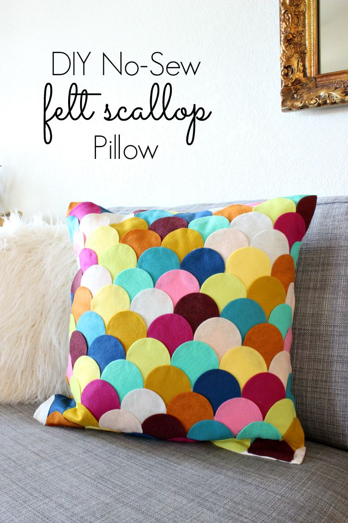 Easy Crafts NoSew DIY Felt Scalloped Pillow  Classy