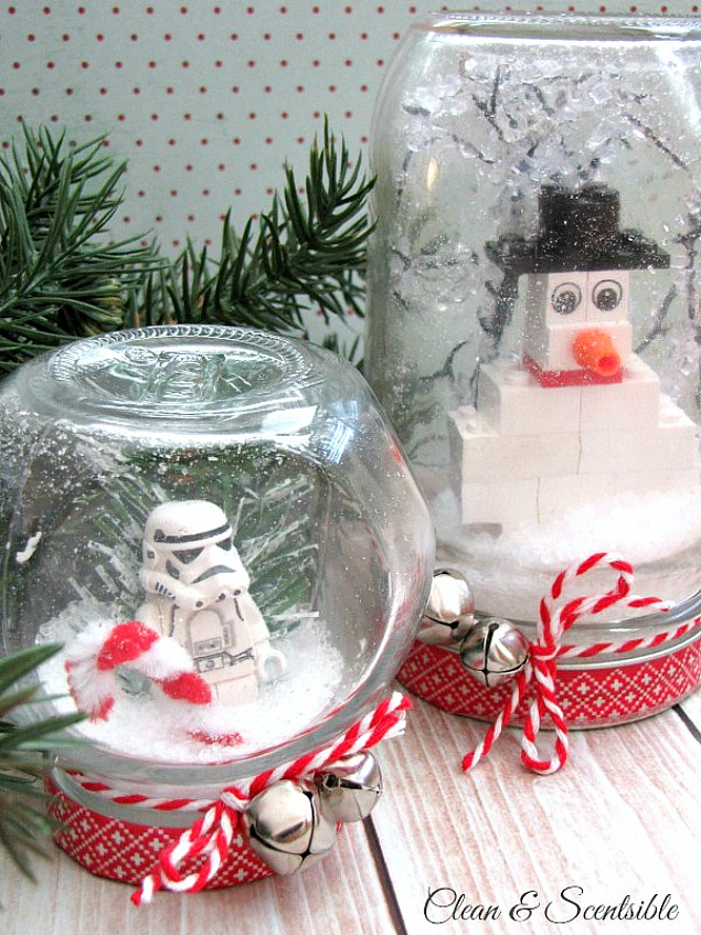 These DIY Lego Snow Globes are a fun and creative Christmas craft idea to do with the kids.