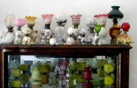 Miniature Antique oil lamp collector Both Art Glass
