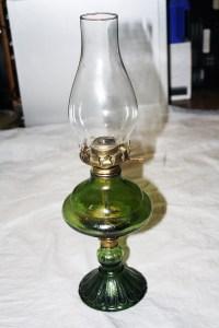 Green Glass Oil Lamp