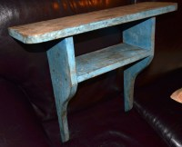 Old Primitive Wall Shelf in old blue paint | Collectors Weekly