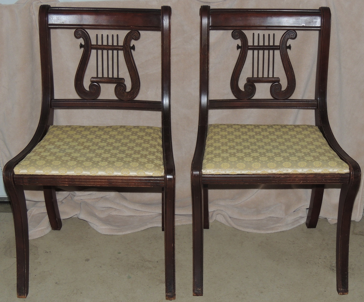 Lyre Back Chairs Duncan Phyfe Style Lyre Back Side Chairs Collectors Weekly