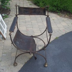 Leather Directors Chair Purple Velvet Living Room Chairs Wrought Iron And Folding