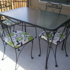 Wrought Iron Kitchen Table Closet Salterini 5 Piece Patio And Chairs