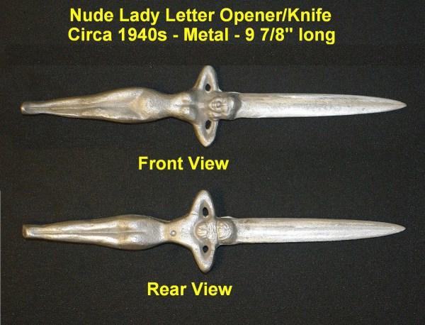 Cast Metal Nude Lady Letter Opener/Knife | Collectors Weekly
