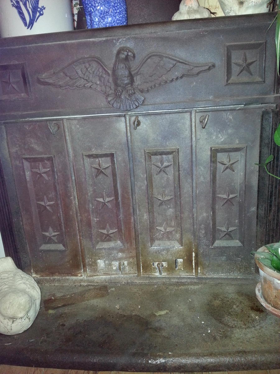 Americana Cast Iron Wood Burning Stove with Eagle and