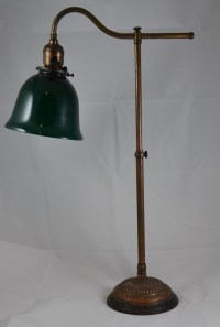Antique Brass Desk Lamp with Green Shade Edison Patients