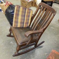 Antique Rocking Chair Identification P Pod For Sale My Dad 39s Black Leather Seat Any