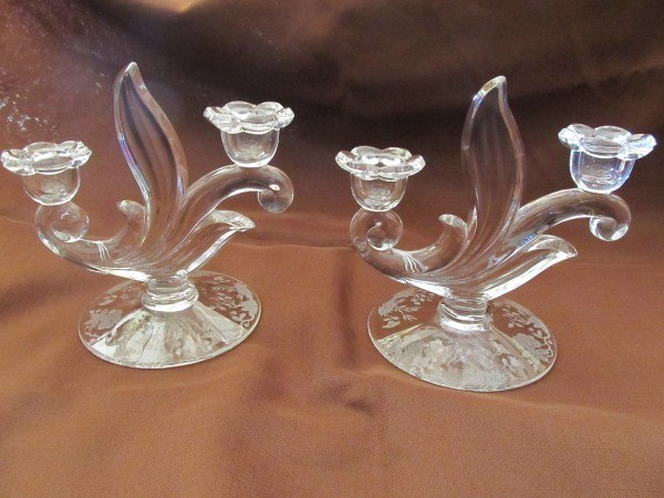Etched Glass Candle Holders Collectors Weekly