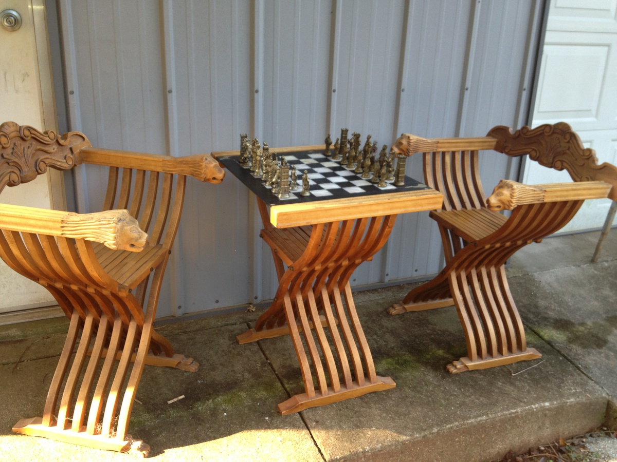 chess table and chairs baby shower ideas bought this set at an auction was told it i