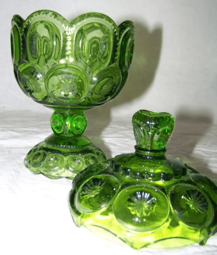 LG Wright MOON  STARS Glass GREEN Covered Compote Candy