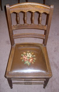"""Really Neat """"old"""" Oak Chair with plastic covered seat"""