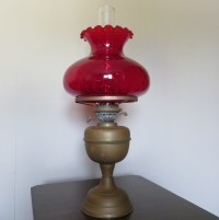 Antique Kerosene Oil Lamp with Ruby Red Glass Shade Double
