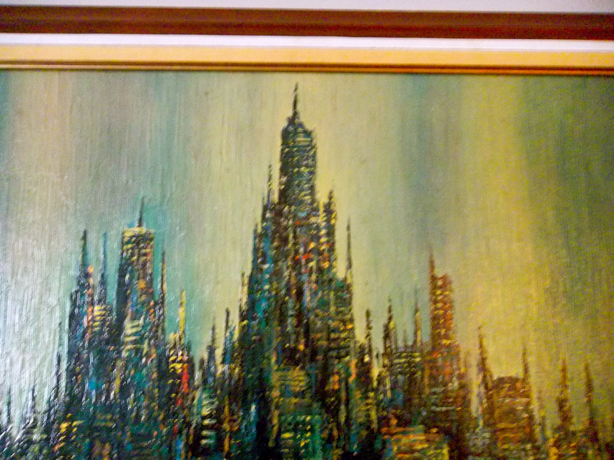 sofa paintings abstract corner bed ikea uk brittini print cityscape collectors weekly