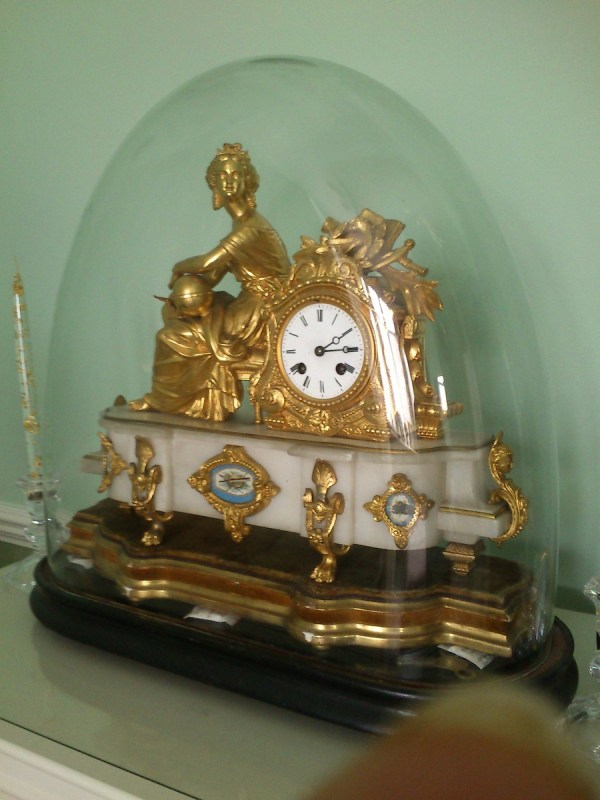 Antique Mantle Clock Glass Dome; Gilt; French
