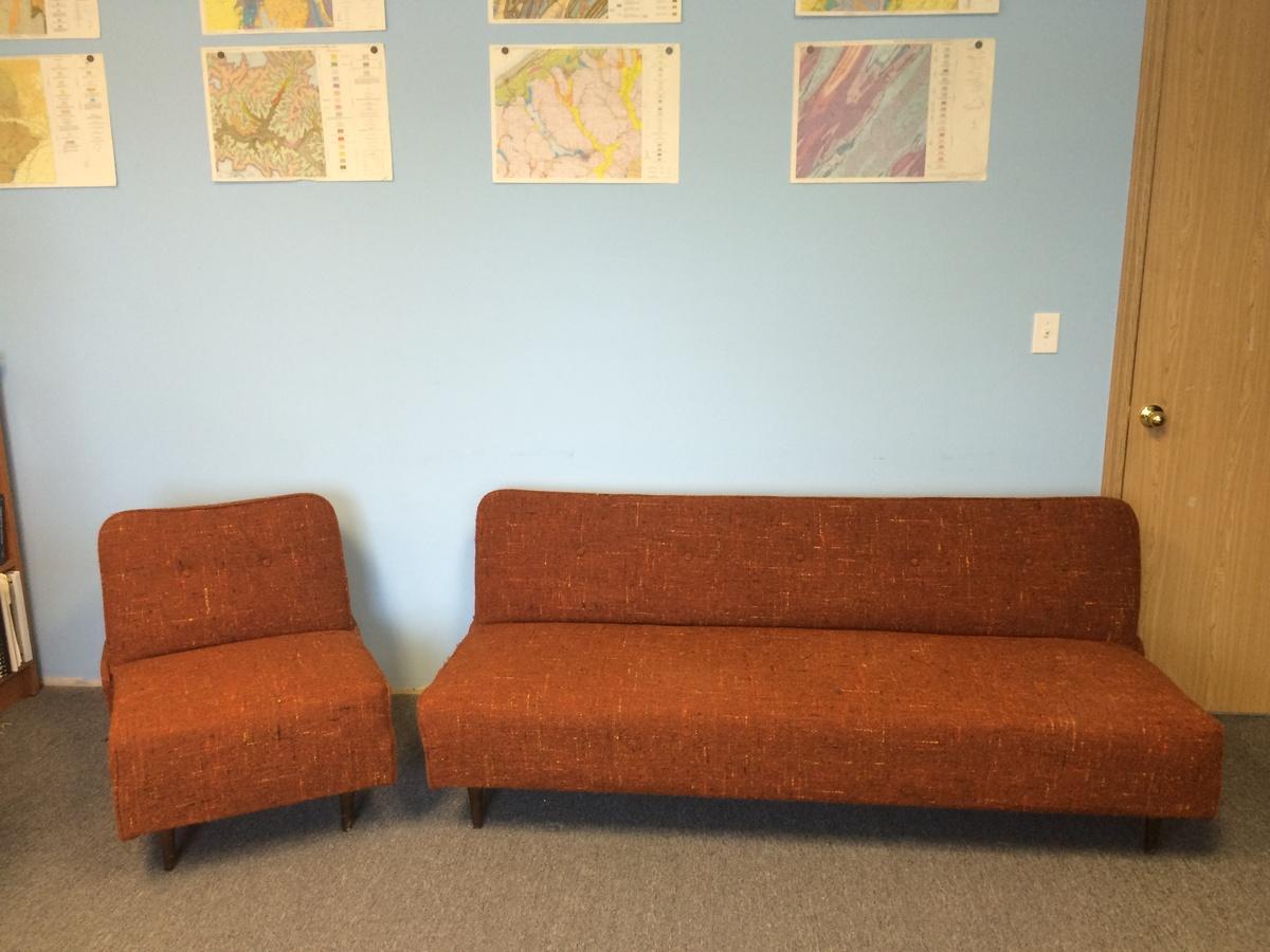 berwick mid century sleeper sofa rose sofaworks armless tweed and chair set